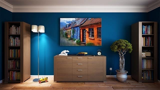 Interior-designing-lamp-stand-blue-wall